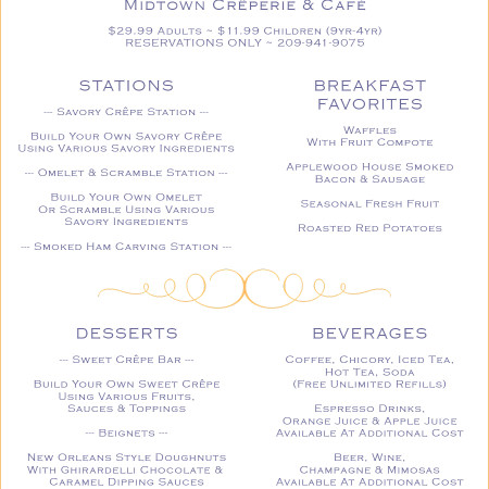 Easter 2016 Buffet Menu